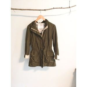Jessica Simpson Green Tab Sleeve Hooded Jacket